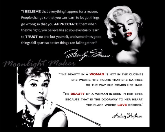 Marilyn Monroe Audrey Hepburn Print Black White Quote Poster Etsy