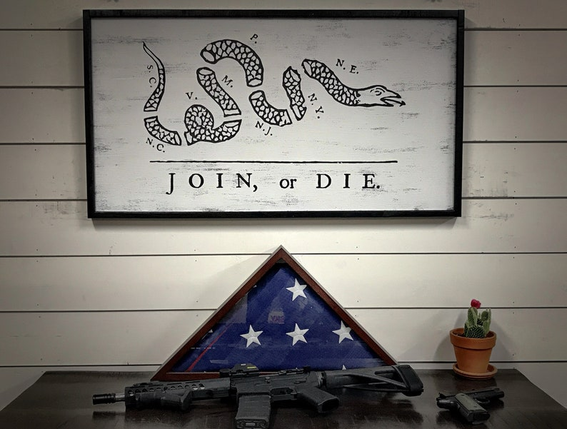 Join Or Die Flag Wood Flag Wood Sign American Decor Rustic Home Decor 5th Anniversary Gift Gift For Him Wall Art Veteran Man Cave