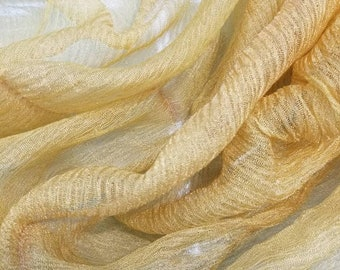 7d2a7bce66b59 Metallic Dark Gold color krinikled crushed silk organza. 100% Silk Organza.  Usable for Apparel and interior designing.