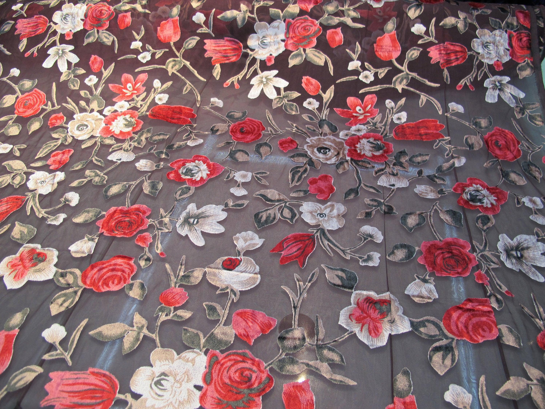 "Designer Soft Burnout Velvet Floral Multicolour Dress Craft Fabric Wide 52"""