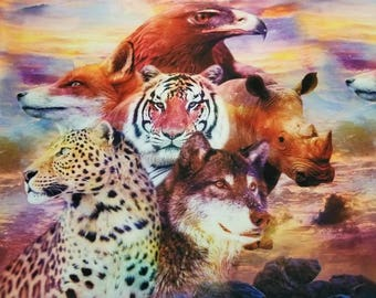 """Exotic Animal Digital Print Fabric with unique color combination to bring your dream in reality. 54"""" inches wide sold by the yard."""