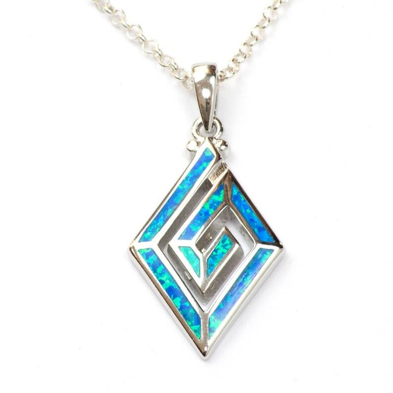 Blue Sea Lab Opal Pendant 925 Silver Jewelry Opal Jewelry Sterling Silver Pendant 925 Blue Opal Pendant Silver Opal necklace UK Seller