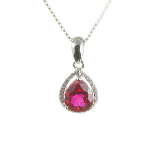 925 Sterling Silver Rhodium-finish Diamond /& Created-Ruby July Stone Oval Pendant