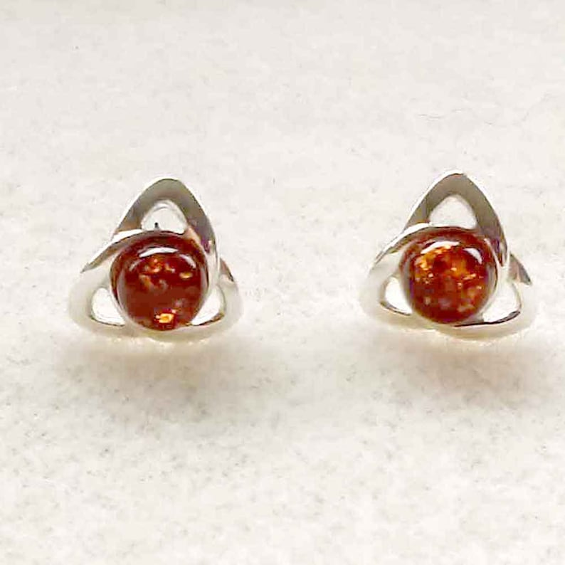 ba1923eeb46c0 Amber Celtic Style Sterling Silver Stud Earrings, Celtic Knot 925 Silver  Jewelry, Baltic Amber Studs, UK Seller, Christmas Gift for Women