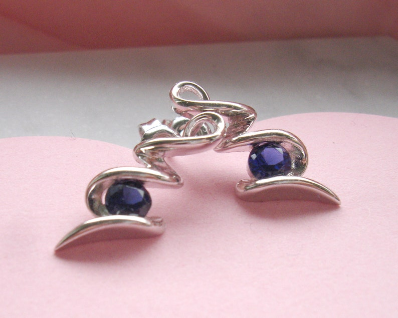 925 Silver Studs Sterling Silver Lab Sapphire Squiggle Earrings September Birthstone