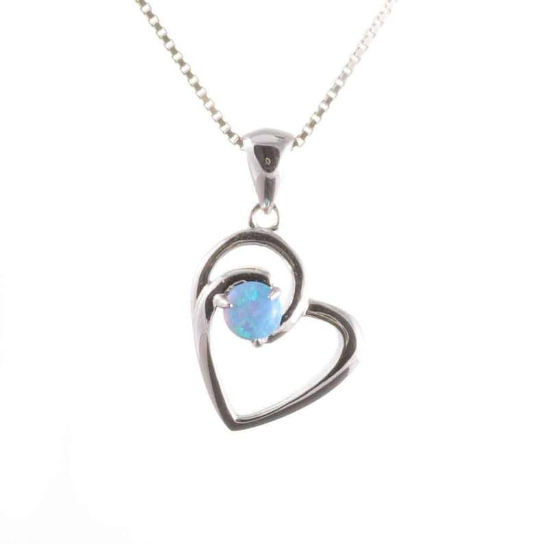 Bleu opale pendentif en forme de Cœur 925 Argent Sterling Collier