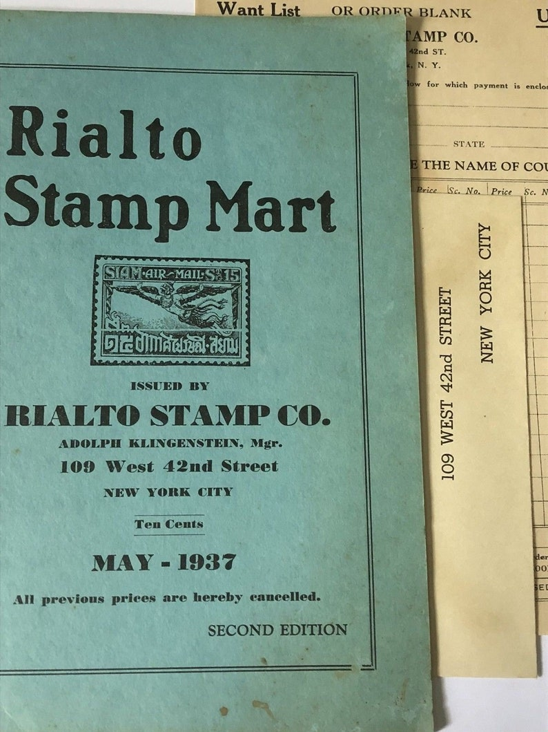 Rialto Stamp Mart 1937 2nd Edition Price List Guide