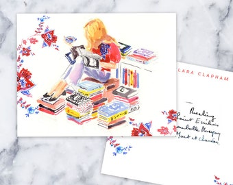 Custom Stationery Girl: Book Stack Girl {Working From Home, Stationary Notecards, Personalized, Watercolor, Custom, Fashion Drawing, Girly}