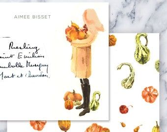 Personalized Stationery Girl: Pumpkin Coat Girl Long Hair {Stationary Notecards, Personalized, Watercolor, Custom, Fashion Drawing}