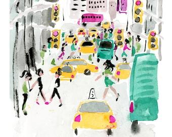 Art Print: NYC Midtown {Cute Wall Art, Home Decorating, Housewarming, Original Painting, Watercolor, Wall Decor, Interior, Girly, Ideas}