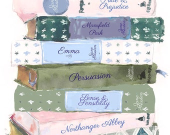 Art Print: Blue Jane Austen Book Stack {Cute Wall Art, Home Decorating, Original Painting, Watercolor, Illustration, Books, Girly, Reading}