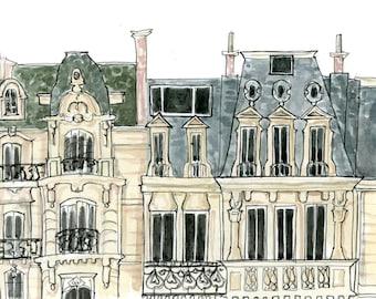 Art Print Wall Art: Parisian Flat {cute paris art print, cute wall art, pink wall art, parisian art print, apartment decor}