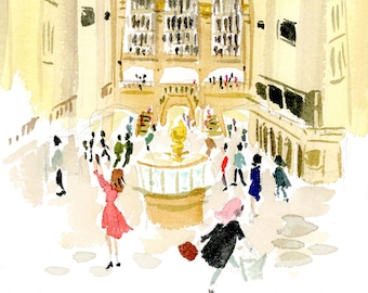 Art Print: Grand Central Station {Cute Wall Art, Home Decorating, Original Painting, Watercolor, Apartment Decor, Interior Design, Girly}