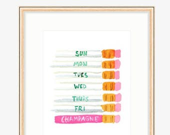 Art Print: Weekday Champagne Pencils
