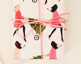 Christmas Wrapping Paper: Tree Toting Girls