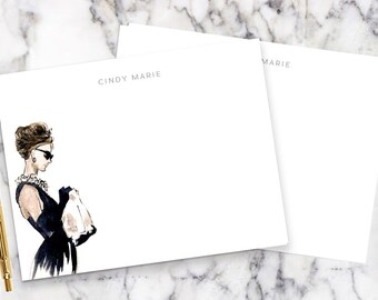 6474f6266152 Audrey Hepburn Breakfast at Tiffany s Personalized Notecards