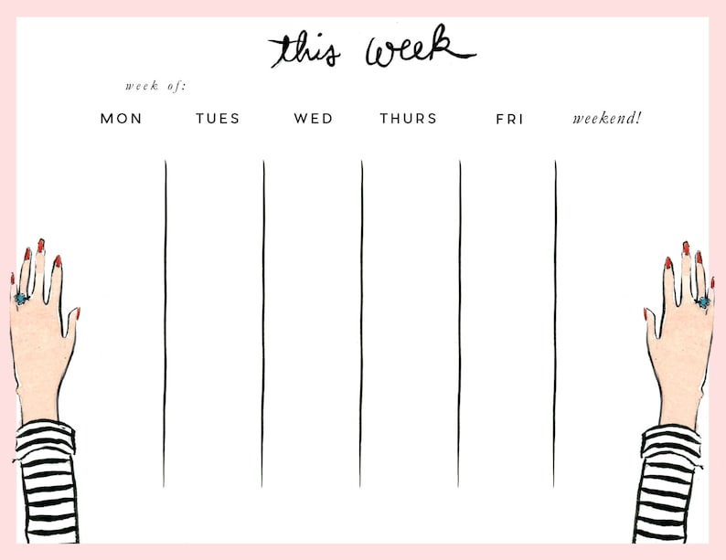 Week at a Glance Pad: Striped Tee image 0