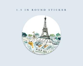 Matte Round Sticker/Envelope Seal: Paris My Sweet