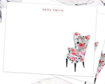 Personalized Stationery Notecards, Personalized: Floral Print Chair