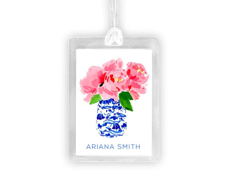 Peonies in a Ginger Jar Luggage Tag Personalized