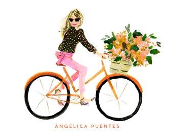 Custom Stationery Girl: Fall Orange Bike Girl {Stationary Notecards, Personalized, Watercolor, Custom, Fashion Drawing, Girly}
