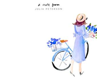 Blue Bike Flowers Stationery