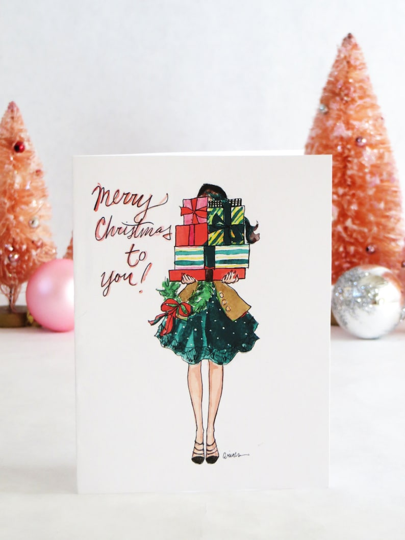 Set of Illustrated Christmas Cards: Bearing Gifts  Fashion image 0