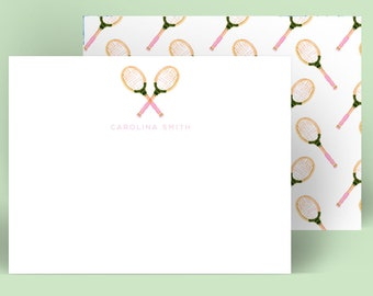 Personalized Stationery: Tennis Racquet {Stationary Notecards, Personalized, Watercolor, Monogram, Custom, Fashion Drawing, Girly}