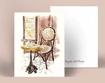 Personalized Stationery: Cozy Cafe Vignette {Stationary Notecards, Personalized, Watercolor, Monogram, Custom}