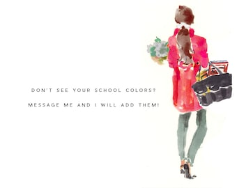 Choose Your School Colors: Back To School Book Bag Girl {Stationary Notecards, Personalized, Watercolor, Custom, Fashion Drawing, Girly}