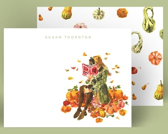 Custom Stationery Girl: Pumpkin Patch Study Girl {Stationary Notecards, Personalized, Watercolor, Monogram, Custom, Fashion Drawing, Girly}