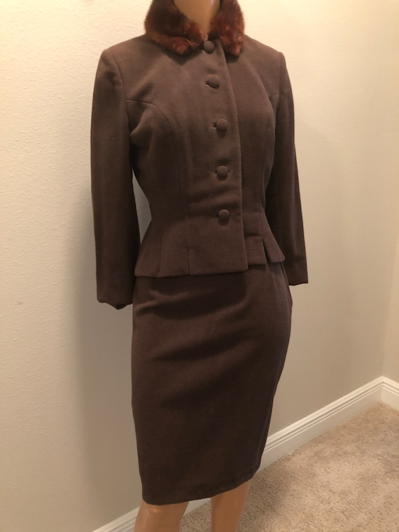 Lillie Ann Dark Brown 2 piece Suit with Mink Colla