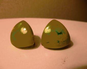 Green Screwback Translucent Earrings