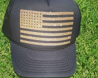 2fe896bfc83 American Flag Trucker Hat   Police    Fire    Sheriff    Border Patrol