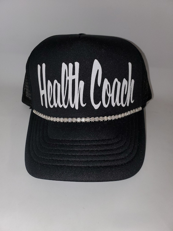 3aa0bab21 HEALTH COACH bling hat. Distressed and traditional trucker hats
