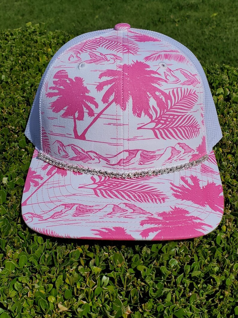 0b299a28e ISLAND Print Summer Hats. Mid Profile Trucker Hats. SnapBack BLING