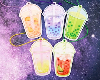 Crystal Popping Boba Tea Kawaii Air Fresheners Double-Sided Strong Smell Scent Kawaii Car Accessories