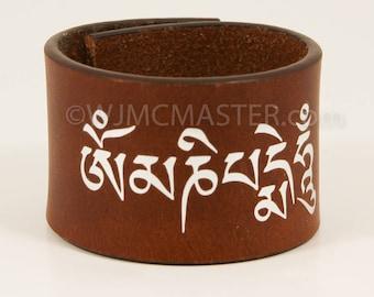 OMManiPadMeHum leather cuff, wrist cuff, bracelet, gift for her, leather wristband, bracelets, wristband, spiritual, spiritual bracelet