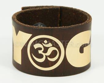 Yoga OM leather cuff, wrist cuff, bracelet, gift for her, leather wristband, bracelets, wristband, spiritual, spiritual bracelet,gift him