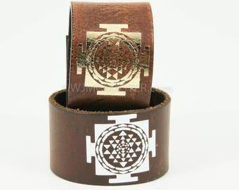 Sri Yantra leather cuff, wrist cuff, bracelet, gift for her, leather wristband, bracelets, wristband, spiritual, spiritual bracelet