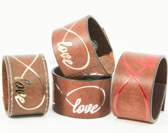 Love Infinity leather cuff, wrist cuff, bracelet, gift for her, leather wristband, bracelets, wristband, spiritual, spiritual bracelet