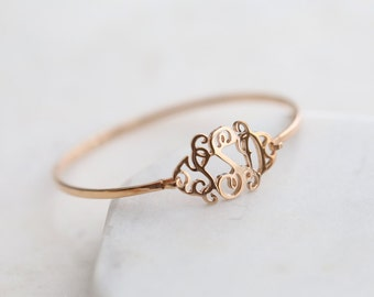 Custom Monogram Bracelet - Personalized Initials Bangle - Custom Monogram Bracelet - Mom Gift - Sterling Silver
