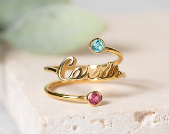b5d7593821 Name Ring with Double Birthstone - Minimalist Ring - Personalized Gift for  Her - Laser Cut Dainty Name Ring - Bridesmaids Gifts