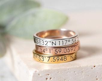 Custom Coordinate Ring - Custom Silver Ring - Personalized Location Ring - Where We First Met Jewelry - Keepsake Jewelry - Memorial Jewelry