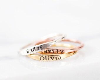 Skinny Name Ring - Mini Name Ring – Skinny Stackable Name Ring - Dainty Name Ring – Stacking Name Ring – Minimal Name Ring