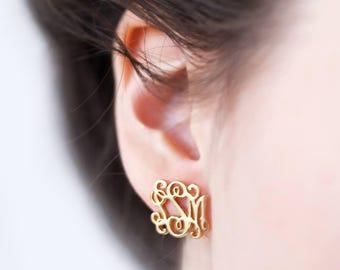 Monogram Earrings - Monogram Stud Earrings - Personalized Earrings - Custom Earrings - Personalize Initials Earrings - Christmas Gift