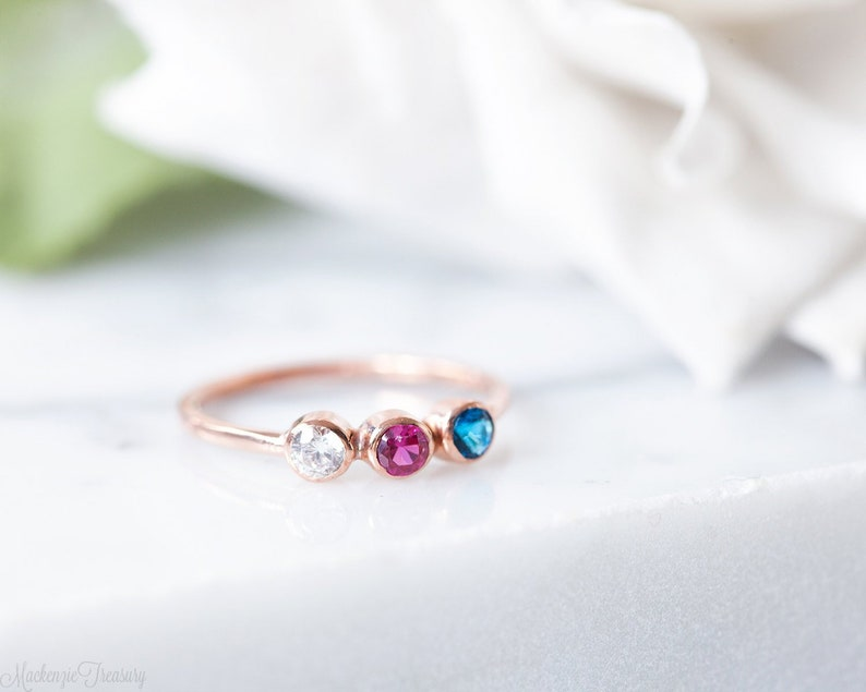 Triple birthstone ring  Triple stone ring  3 birthstone ring image 0