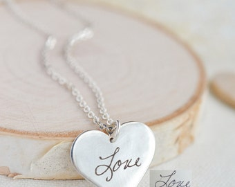 Custom Heart Necklace - Engraved Heart Pendant - Engraved handwriting necklace - Personalized engrave jewelry in sterling silver