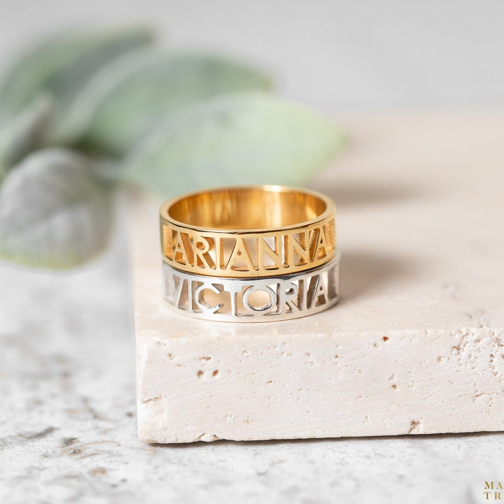 Cut out name ring  Personalized name ring  Modern name ring image 0