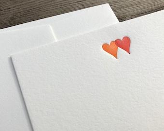 Set of 5 letterpress cards & envelopes - two hearts